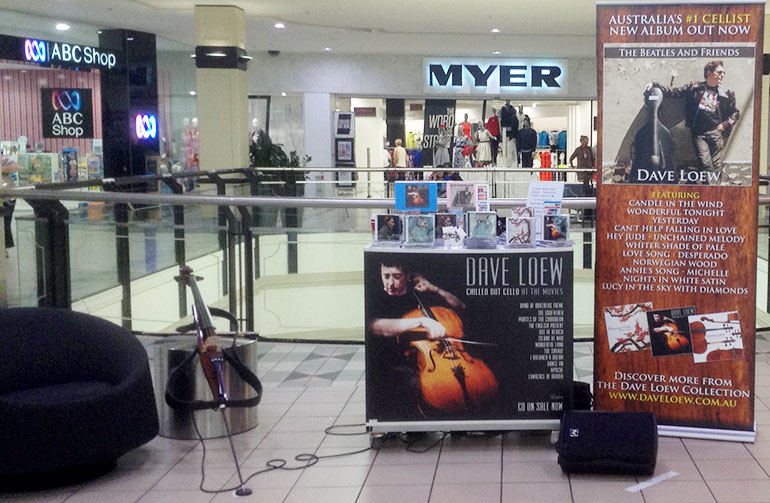 Dave Loew setup at Westfield shopping centre